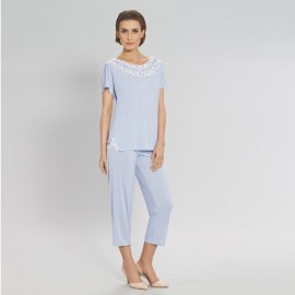 Knitted, two-piece pyjama, short sleeves and loose trousers , Elena, Coemi 162C826