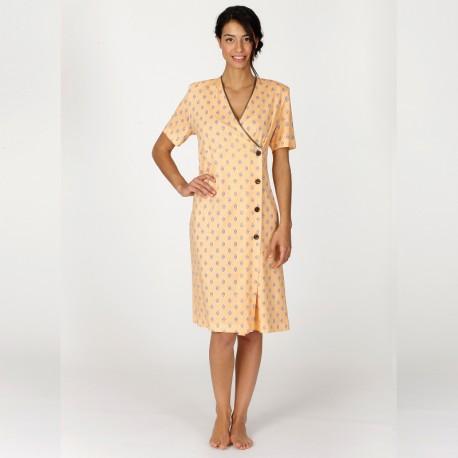Robe de chambre boutonn e manches courtes d co egatex - Robes de chambre de marque ...