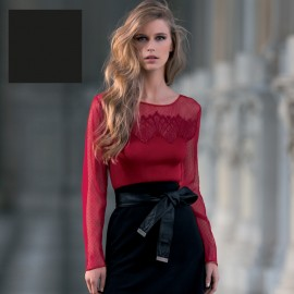 Long Sleeves Top, Wool & Silk, Plissé Plumetis Bande Chantilly, Oscaltio 8248