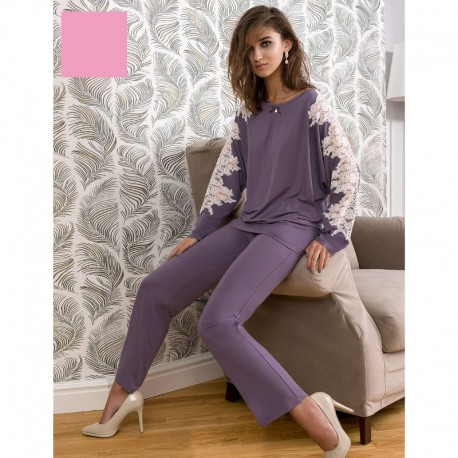 Pyjama Manches Longues avec Pantalon, 94% Modal, 6% Elasthanne, Coemi 171C848