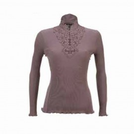 Long Sleeved Sweater Macrame Collar Merinos Wool & Silk, Artimaglia 69404