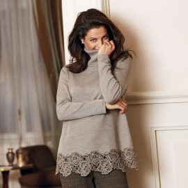 Long Sleeves Sweater Wool & Silk Macramé, Oscalito 8682_372