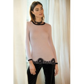Top Manches Longues Col Rond Dentelle, Wool & Silk, Lisanza 4248-6504/222