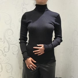 Long Sleeves, 100% Silk, Shape Plissé Col Roulé, Oscalito 9516