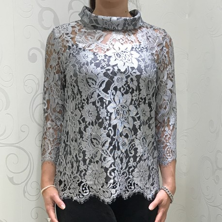 Sweater, 3/4 Pleated Sleeves and Lace Chantilly Wool & Silk, Oscalito 8606_261