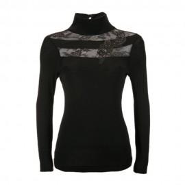 Long Sleeved Sweater Wool & Silk Funnel Neck, Artimaglia 44804