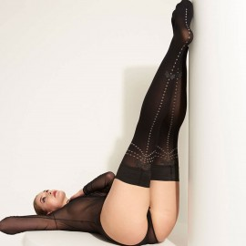 Fancy Stay-Up Stockings, Stone, Trasparenze STONE-AR