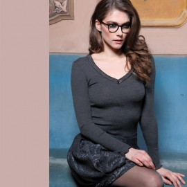 Long Sleeved Sweater L&S V-Collar Satin Edge, Artimaglia 58204