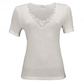 Tee-Shirt Manches Courtes Col V Dentelles, Emily, Laine-Soie-Coton