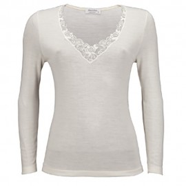 Tee-Shirt Manches Longues Col V Dentelles, Emily, Laine-Soie-Coton