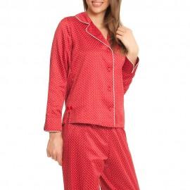 Pyjama Satin Manches Longues Pantalon, X-MAS, Taubert 142801-664