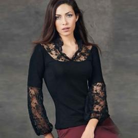 Top Sleeveless Long Wool & Silk Flat / Pleated Plumetis Embroidered, Oscalito 4702