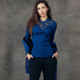 Long Sleeve Wool and Silk Top Pleated Macrame Collar, Oscalito 4720