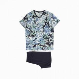 Pyjama Short, Floral Blue, Hom 400798