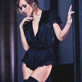 Pyjama Combnaison short, Satin Uni, Marjolaine 4SAT5601-0004