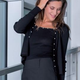 Gilet Manches Longues Orné de Perle, 85% Laine 15% Soie, Moretta 5726-NERO