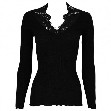Long Sleeve Wool and Silk Top Flat Macrame Yoke, Oscalito 4718