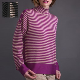 Long-Sleeved Wool & Silk Top, Turtleneck, Artimaglia 68104