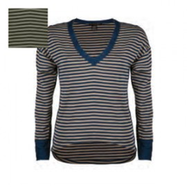 Long-Sleeved Wool & Silk Top, V-neck, Artimaglia 68004