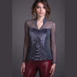 Long Sleeved Top Wool & Silk, Velvet, Artimaglia 69504-100
