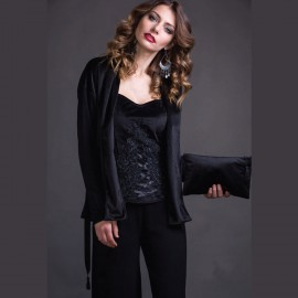 Long Sleeved Jacket Wool & Silk, Velvet, Artimaglia 69604-15