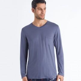 Tee-Shirt Col V Manches Longues , Noe Hanro 075634-1582
