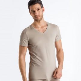Tee-Shirt Col V Manches Courtes, , Cotton Superior, Hanro 073089-1828