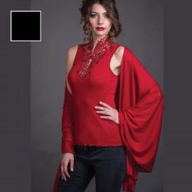Sleeveless Sweater Macrame Collar Merinos Wool & Silk, Artimaglia 69405
