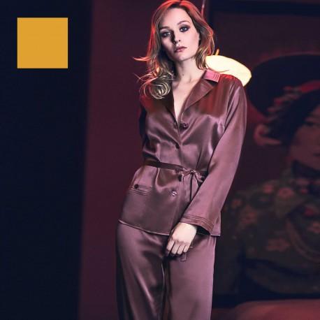 Long Sleeved Pajamas & Silk Trousers, Soie Unique, Marjolaine 3SOI5533-0093
