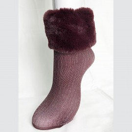 Printed Anthracite Fur Socks, Amon, Pierre Mantoux 18AI821860/6513