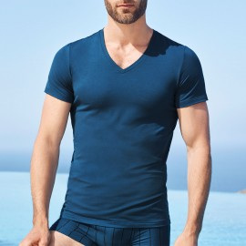 Tee-Shirt V Neck Short Sleeves, Cotton Superior Poan, Hanro 073089-1585