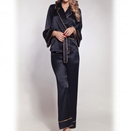 Long-sleeved Pajamas with Trousers, Soie Bicolore, Marjolaine 3SOI5534-0493