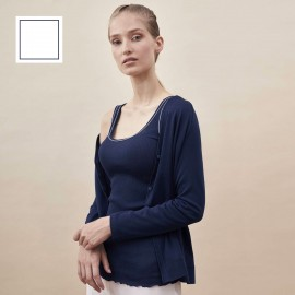 Pleated Unsleeved Top, 100% Lisle Cotton, Oscalito 3122C-C04