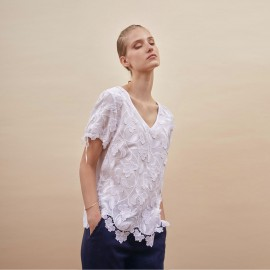 Short Sleeves Top Cotton Veil Broderie Superposé, Oscaltio 4918-010