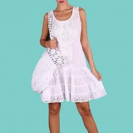 Sleeveless Dress, 100% Cotton, Antica Sartoria 2019E067