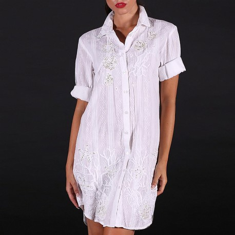 Blouse Dress, 100% Cotton, Antica Sartoria 2019S098