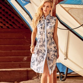Blouse Dress Sleeveless, 100% Cotton, Iconique IC9061-001