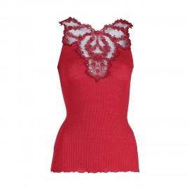 Top Sleeveless Pleated Tulle Embroidered Tatoo 70% Wool-30% Silk, Oscalito 5460-615