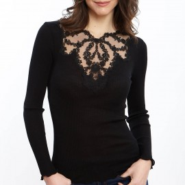 Top Long Sleeves Pleated Tulle Embroidered Tatoo 70% Wool-30% Silk, Oscalito 5462-020