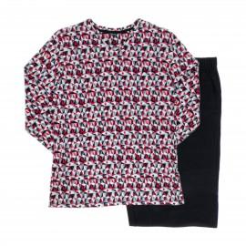Pyjama Long,Haut imp. géomét. rouge,gris,noir,blanc Bas Noir, T, Hom 401503-3284
