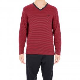 Pyjama Long,Haut rayé rouge et gris foncé Bas gris foncé, Smartness, Hom 401503-3284