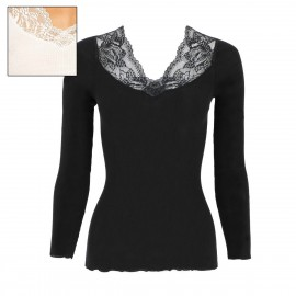 Top Long Sleeves Pleated Leaves Band 70% Wool-30% Silk, Oscalito 5606-012
