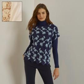 Sleeveless Macrame Allover Top 70% Wool-30% Silk, Oscalito 5620-012