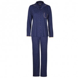 Buttoned Pajamas Long Sleeves Marine/Safran, Ambre, Le Chat AMBRE706