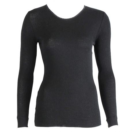 Top Long Sleeves Pleated Crew Neck 70% Wool-30% Silk, Oscalito 9515-254