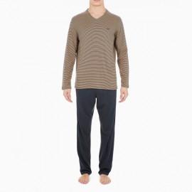 Pyjama Long, Haut: rayure Camel et Gris Foncé, Bas: Gris, Simon, Hom 401453-ZA85