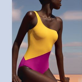 One-piece Asymmetrical Swimsuit, Beauté Sublime-Jaune Doré, Aubade PR67A-JABO