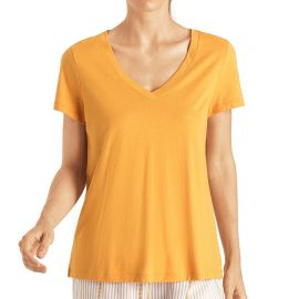 T-Shirt Manches Courtes Col V, Sleep & Lounge - Jaune Radian, Hanro, 077876-1245