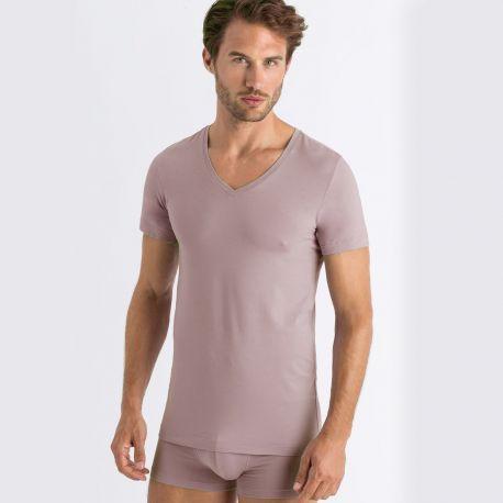 Tee-Shirt Col V Manches Courtes, Cotton Superior Ca, Hanro 073089-1216