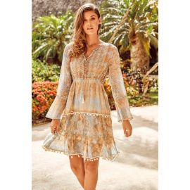 Robe Manches Longues, Ischia 100% Coton, David DB20-051-SAND